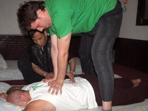 Studying therapeutic thai massage with proffesor Sinchai
